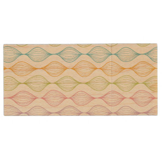 Colorful horizontal ogee pattern wood USB 2.0 flash drive