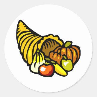 Colorful horn shaped cornucopia round sticker