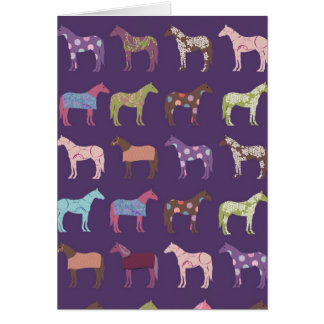 Colorful Horse Pattern Greeting Cards