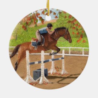 Colorful Horse & Rider Jumping Christmas Ornament