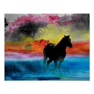 Colorful Horse Running in Water Poster