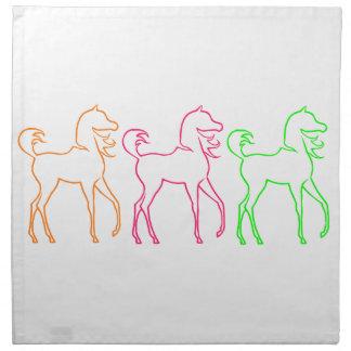 Colorful horses napkin