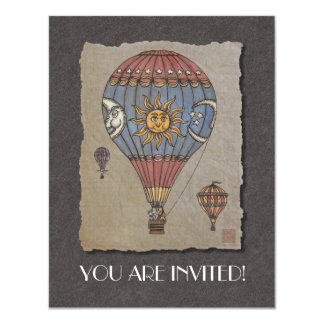 Colorful Hot Air Balloon 11 Cm X 14 Cm Invitation Card