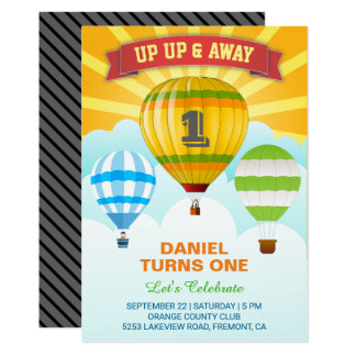 Colorful Hot Air Balloon First Birthday Invitation