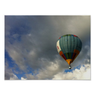 Colorful Hot Air Balloon in the Cloudy Sky Print