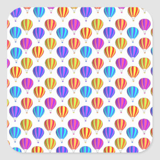 Colorful Hot Air Balloon Pattern Square Stickers