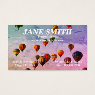 Colorful Hot Air Balloon Travel Theme Business Card