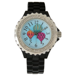 Colorful Hot Air Balloons Print Wristwatches