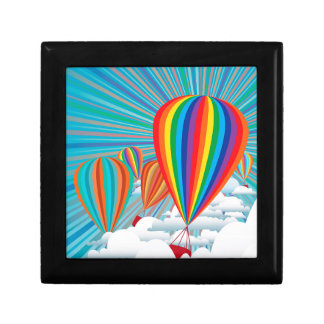 Colorful hot air balloons small square gift box