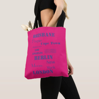 Colorful hot pink destinations tote bag