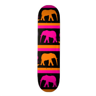 Colorful Hot Pink Orange Elephants Paisley Hearts Skate Boards