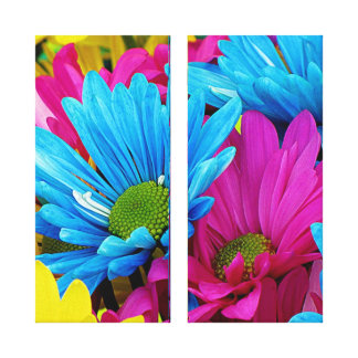 Colorful Hot Pink Teal Blue Gerber Daisies Flowers Gallery Wrap Canvas