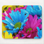 Colorful Hot Pink Teal Blue Gerber Daisies Flowers Mousepads