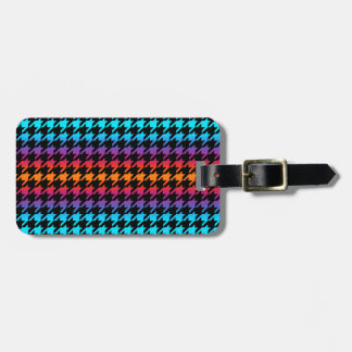 Colorful Houndstooth Luggage Tag