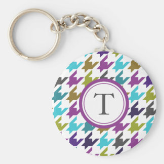 Colorful houndstooth pattern basic round button key ring