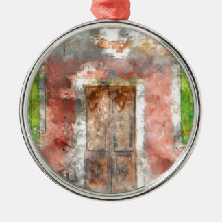 colorful house in Burano island Venice Italy Silver-Colored Round Decoration