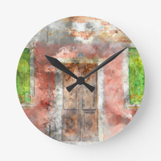 colorful house in Burano island Venice Italy Wall Clocks