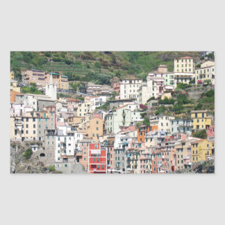 Colorful Houses on Italy Coast Rectangular Sticker