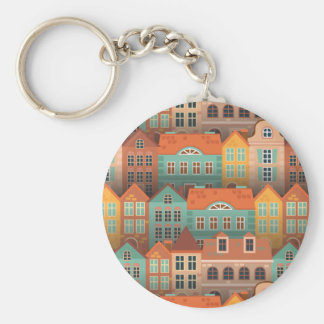 Colorful houses pattern basic round button key ring