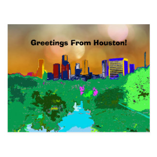Colorful Houston City Skyline Souvenir Greetings Postcard