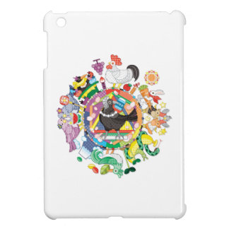 Colorful hue circle gradation and black and white case for the iPad mini