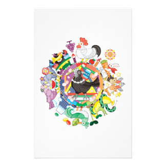 Colorful hue circle gradation and black and white personalised stationery