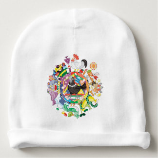 colorful hue circle gradation with black and white baby beanie