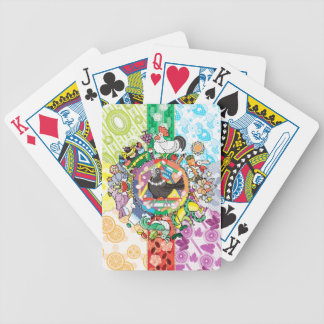 colorful hue circle gradation with black and white bicycle playing cards