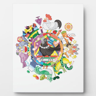colorful hue circle gradation with black and white plaque