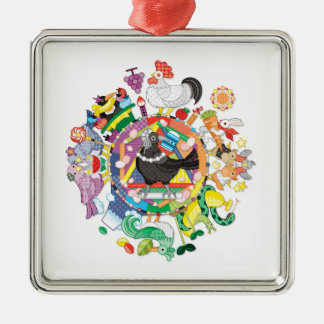 colorful hue circle gradation with black and white Silver-Colored square decoration