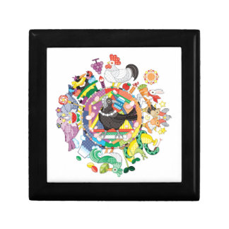 colorful hue circle gradation with black and white small square gift box