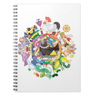 colorful hue circle gradation with black and white spiral notebook