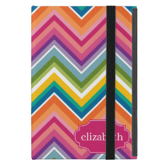 Colorful Huge Chevron Pattern with name iPad Mini Case