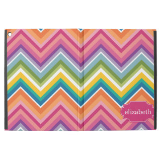 "Colorful Huge Chevron Pattern with name iPad Pro 12.9"" Case"