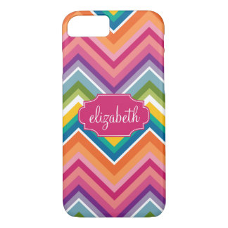 Colorful Huge Chevron Pattern with name iPhone 8/7 Case