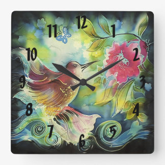 Colorful Hummingbird Digital Silk Art Square Wall Clock