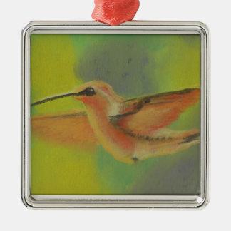 Colorful Hummingbird In Flight Silver-Colored Square Decoration