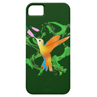 Colorful hummingbird kiss a flower with green back iPhone 5 covers