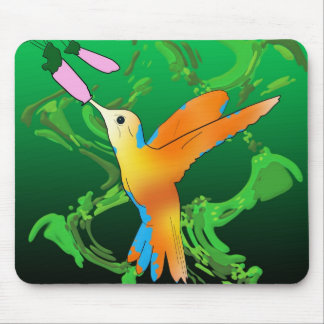 Colorful hummingbird kiss a flower with green back mousepads