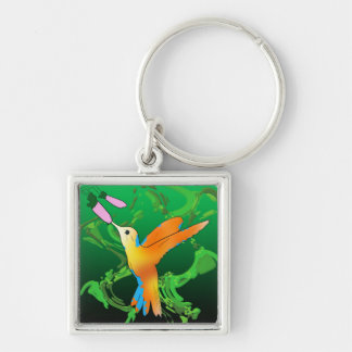 Colorful hummingbird kiss a flower with green back Silver-Colored square key ring