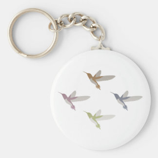 Colorful Hummingbirds Basic Round Button Key Ring