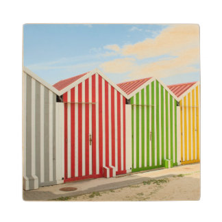 Colorful Huts On Beach Maple Wood Coaster