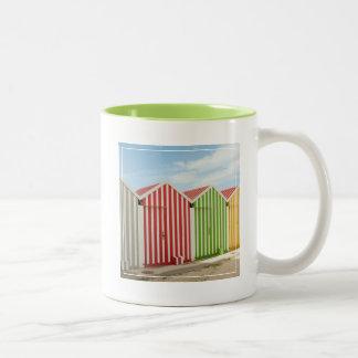 Colorful Huts On Beach Two-Tone Coffee Mug