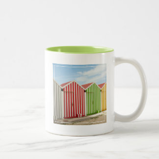 Colorful Huts On Beach Two-Tone Mug