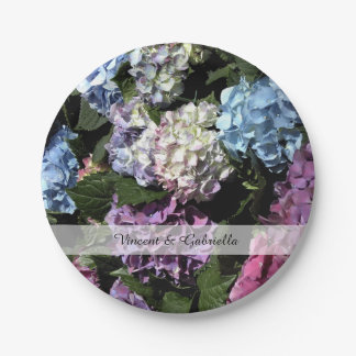 Colorful Hydrangea Flowers Wedding Paper Plate