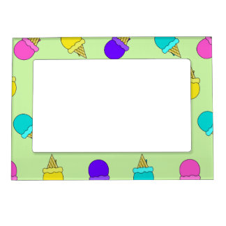 Colorful ice cream cone green magnetic frame