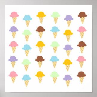 Colorful Ice Cream Cones Poster
