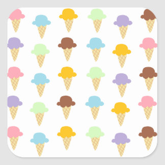 Colorful Ice Cream Cones Square Sticker
