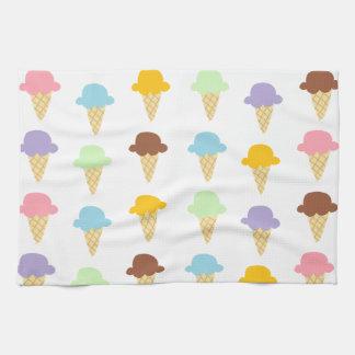 Colorful Ice Cream Cones Tea Towel