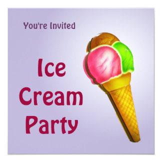 Colorful Ice Cream Party Invitation